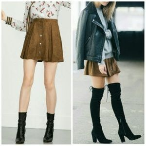 Zara Brown Faux Suede Perforated Snap Front Skirt